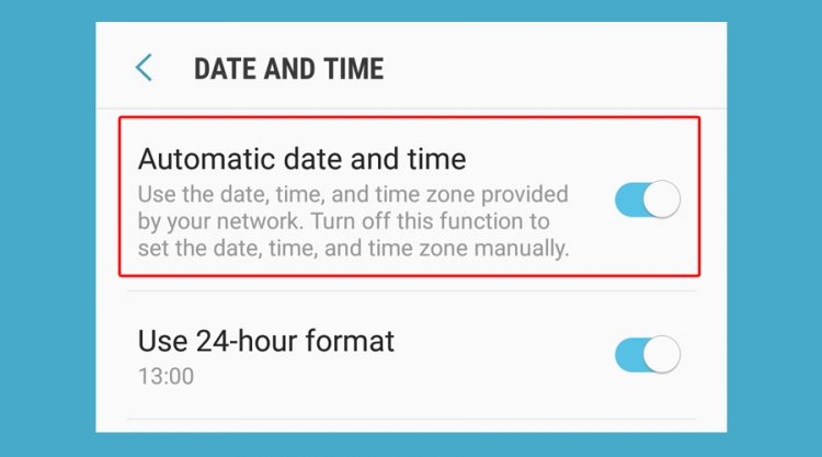 Android shows automatic date and time