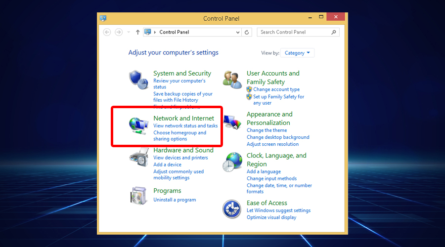 Windows shows control-panel-network-and-internet