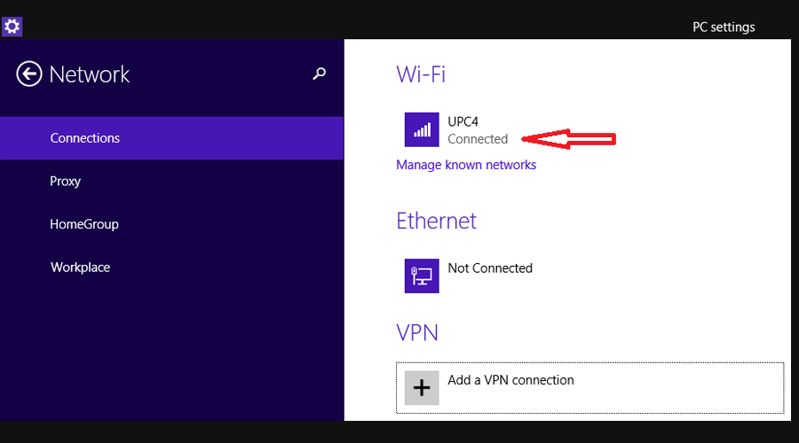 Windows shows network connections