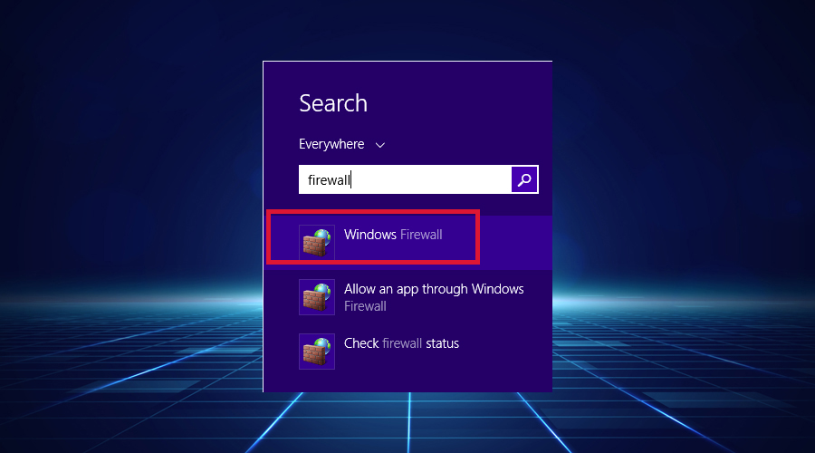search Windows Firewall