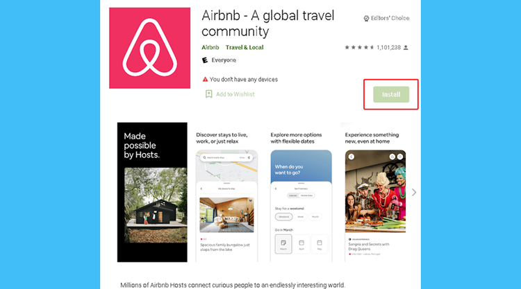 Android-reinstall-airbnb-app