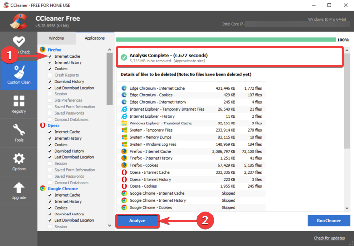 CCleaner shows Analyze