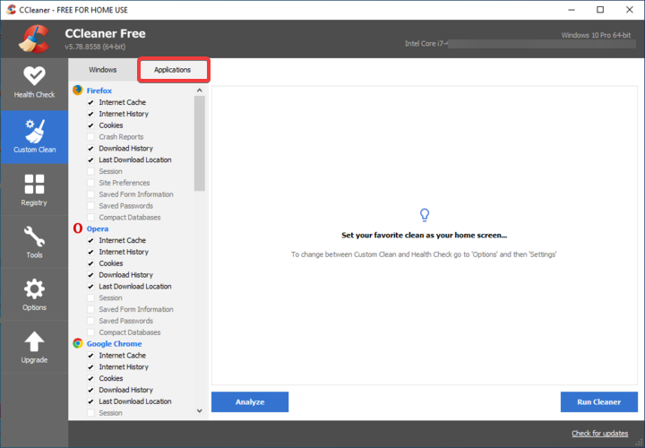 CCleaner shows other Applications
