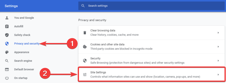 Chrome shows Privacy and security, Site settings