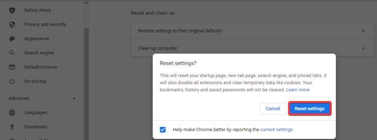 Chrome shows Reset settings