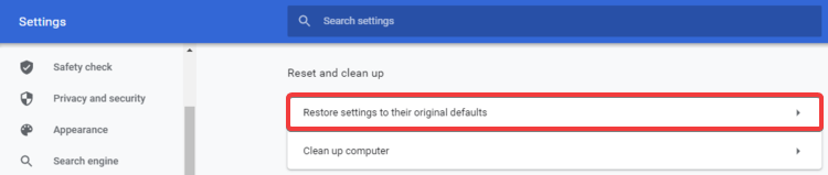 Chrome shows Restore settings to original defaults
