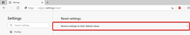 Edge shows Restore settings to default values