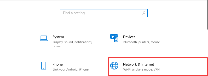 Windows 10 shows Network & Internet